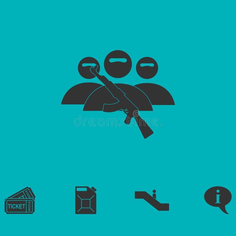 Symbol för terroristbalaclavamaskering framlänges royaltyfri illustrationer
