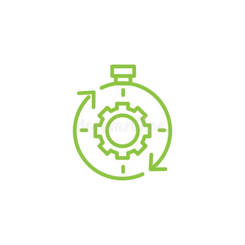 Symbol för Tid ledning med stopptid, brådska & punktlig symbolism vektor illustrationer