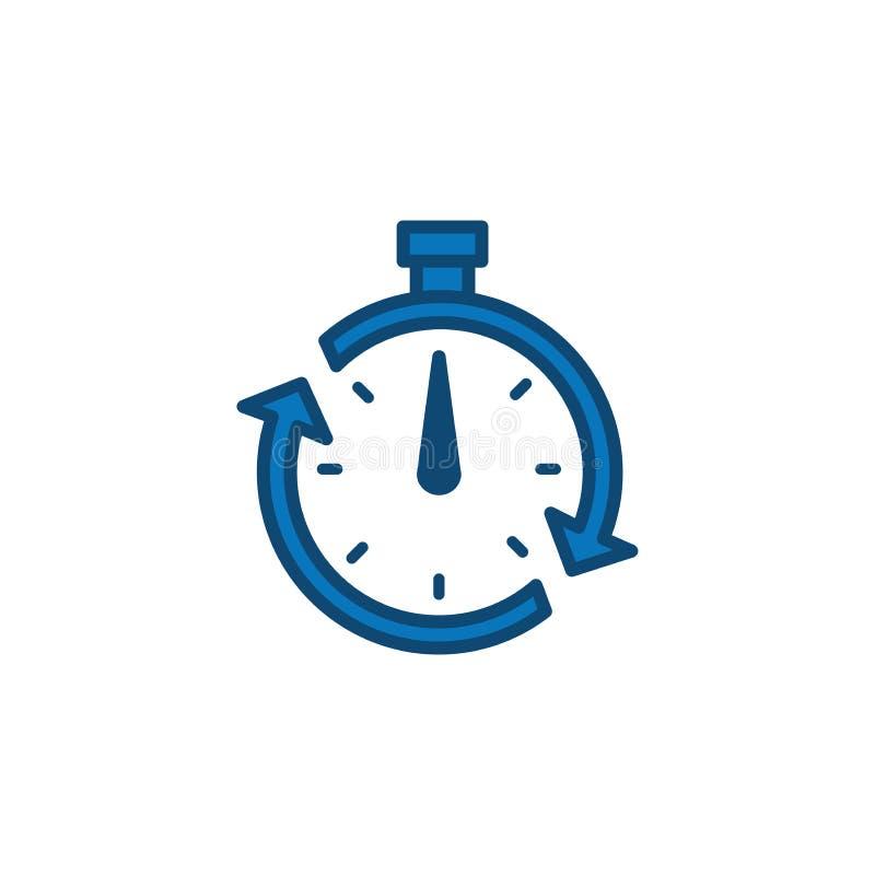 Symbol för Tid ledning med stopptid, brådska & punktlig symbolism stock illustrationer