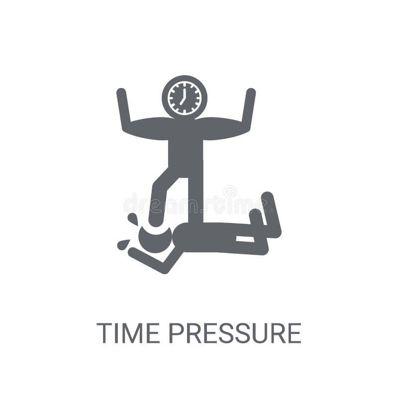 Symbol för Tid tryck Moderiktigt begrepp för logo för Tid tryck på vitt b royaltyfri illustrationer
