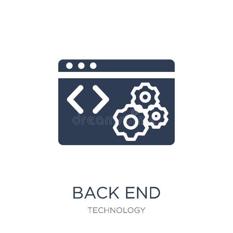 Symbol för tillbaka slut Moderiktig plan symbol för tillbaka slut för vektor på den vita backgroen stock illustrationer