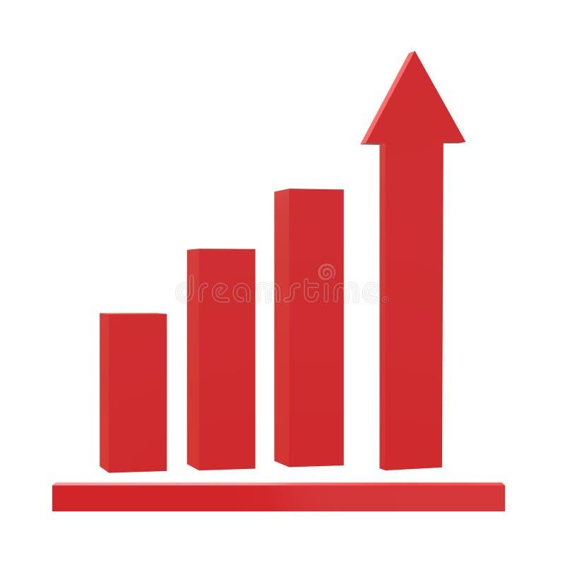 symbol för tillväxt 3D på svart bakgrund Plan stil grafdiagramsymbol för din webbplatsdesign, logo, app, UI symbol för diagram fö royaltyfri illustrationer