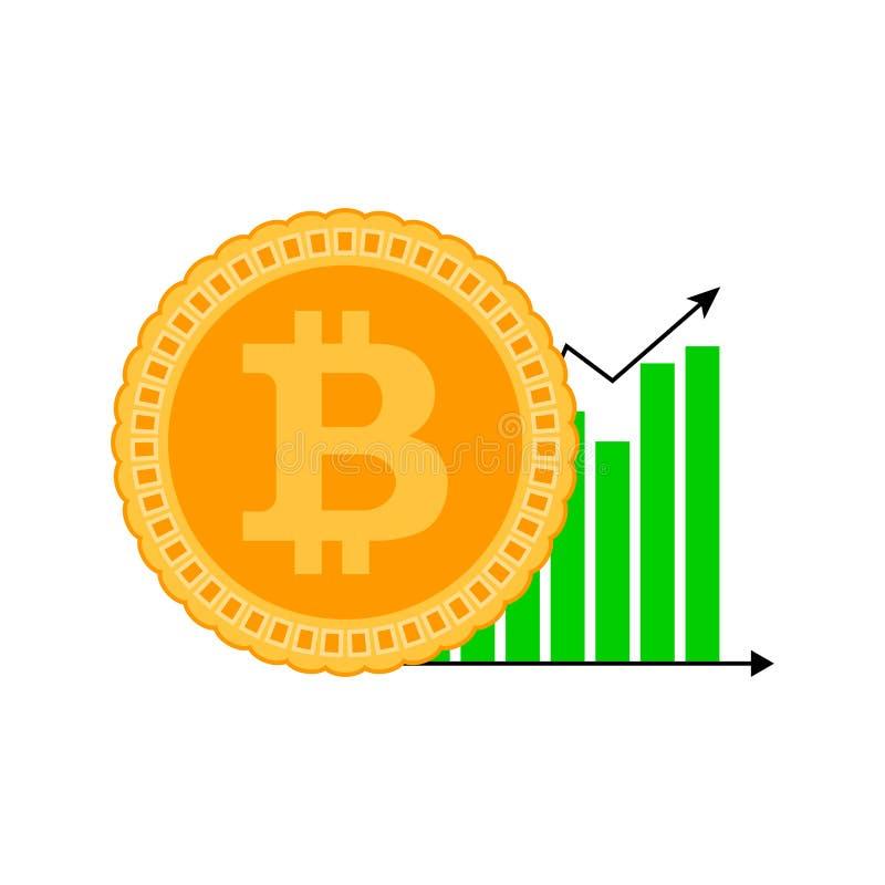 Symbol för tillväxtbitcoindiagram vektor illustrationer