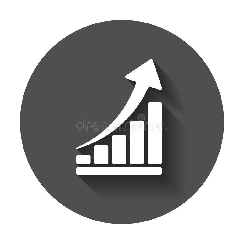 Symbol för tillväxtdiagram Väx den plana vektorillustrationen för diagrammet Busine royaltyfri illustrationer