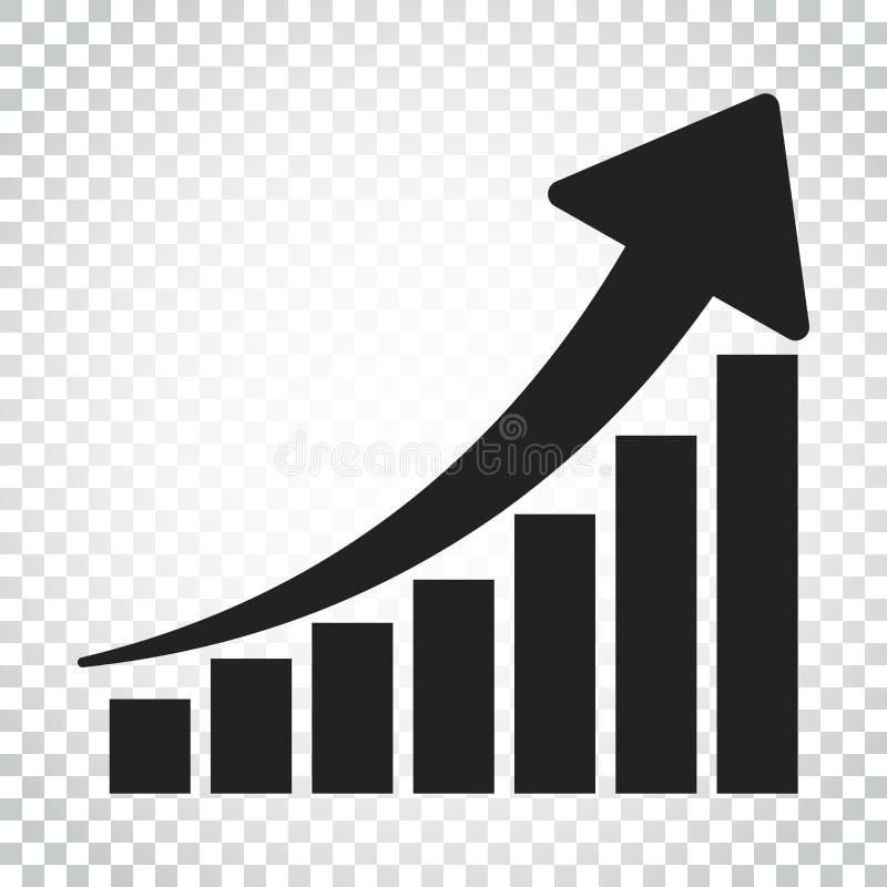 Symbol för tillväxtdiagram Väx den plana vektorillustrationen för diagrammet Busine vektor illustrationer