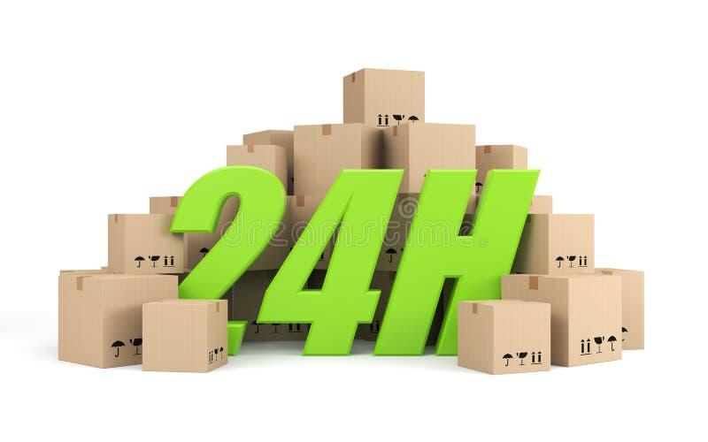 24 symbol för timmar för bollleverans glass gröna stock illustrationer