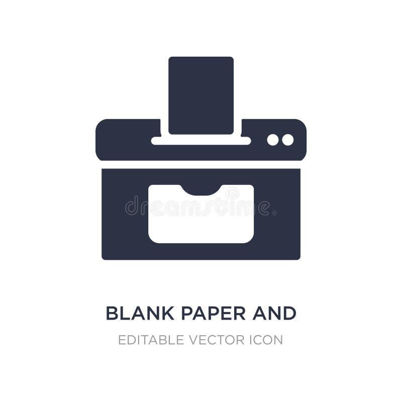 symbol för tomt papper och skrivarpå vit bakgrund Enkel beståndsdelillustration från hjälpmedel- och redskapbegrepp stock illustrationer