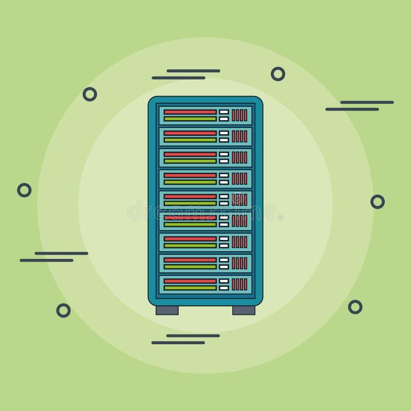 Symbol för tornserverdator stock illustrationer