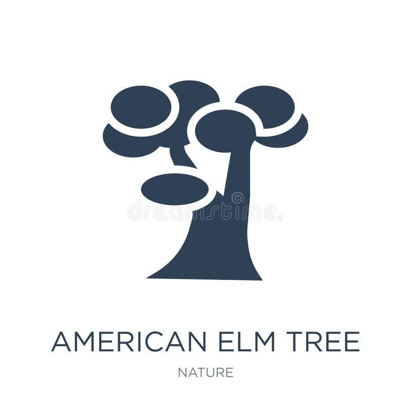 symbol för träd för amerikansk alm i moderiktig designstil symbol för träd för amerikansk alm som isoleras på vit bakgrund symbol royaltyfri illustrationer