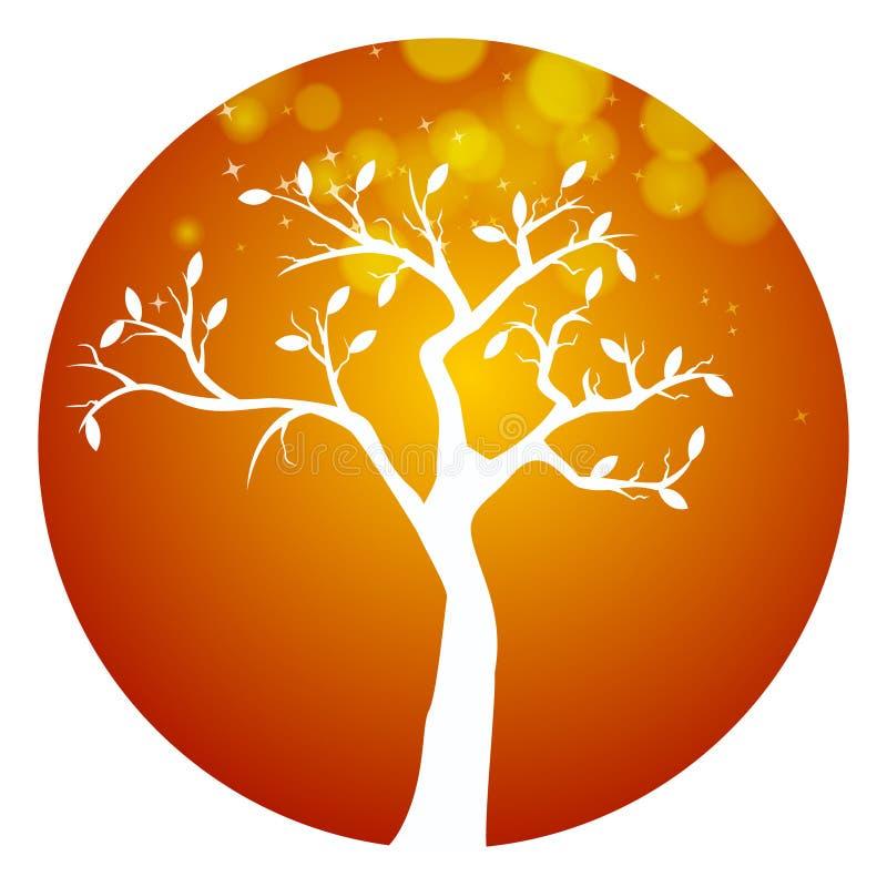 Symbol för träd för höstapelsinrunda stock illustrationer