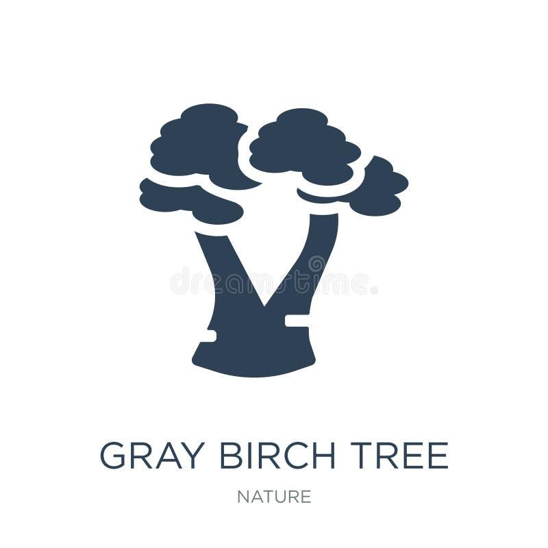 symbol för träd för grå björk i moderiktig designstil symbol för träd för grå björk som isoleras på vit bakgrund enkel symbol för stock illustrationer