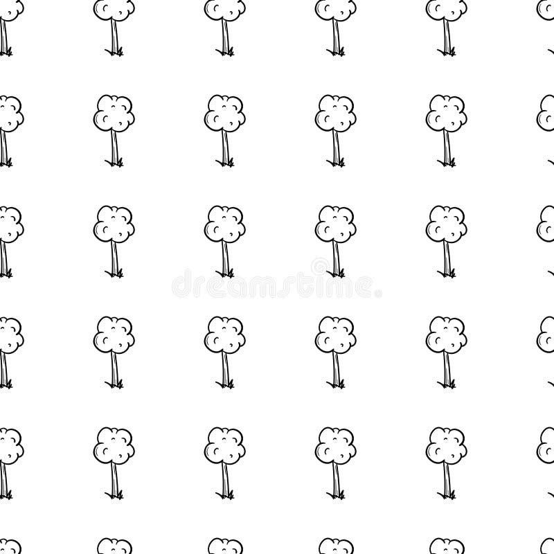 Symbol för träd för modell för utdraget klotter för hand sömlös svart skissar teckensymbol Taget i Genua, Italien bakgrund isoler royaltyfri illustrationer