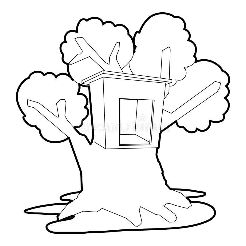 Symbol för trädhus, översiktsstil royaltyfri illustrationer