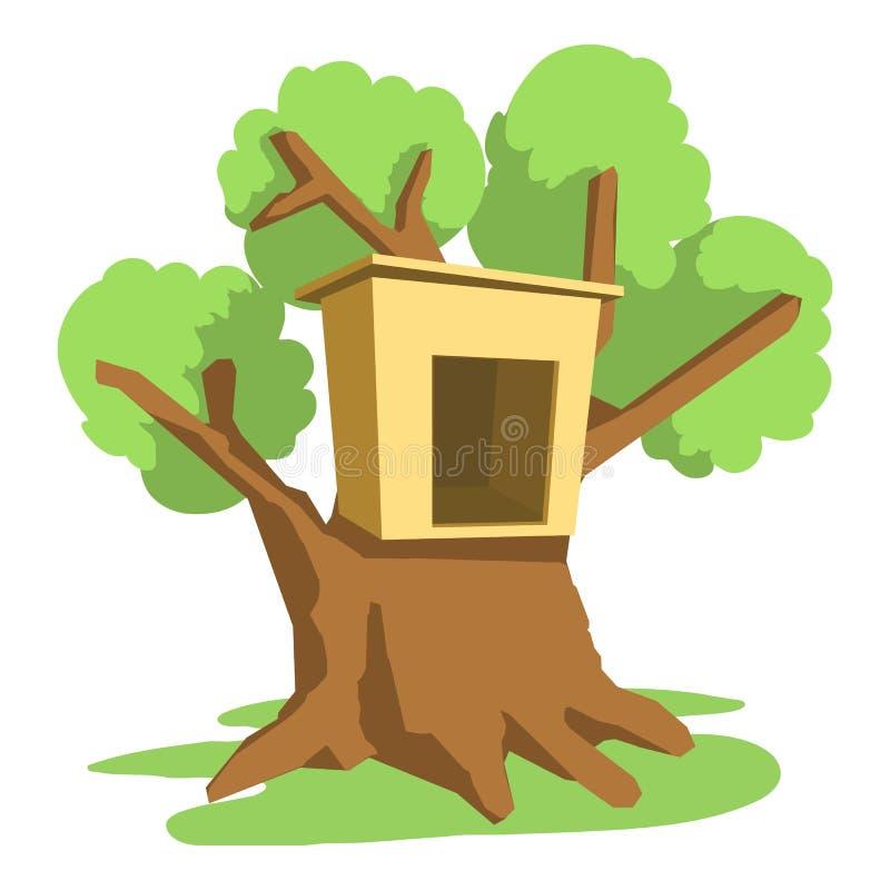 Symbol för trädhus, tecknad filmstil stock illustrationer