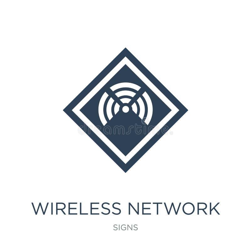 symbol för trådlöst nätverk i moderiktig designstil symbol för trådlöst nätverk som isoleras på vit bakgrund Vektorsymbol för trå vektor illustrationer
