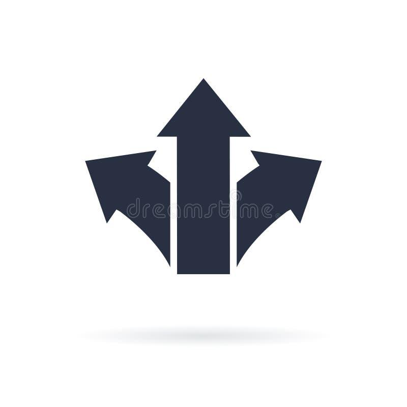Symbol för tre pilar som pekar i olika riktningar Prima symbol, vägbegreppet gears symbolen vektor illustrationer