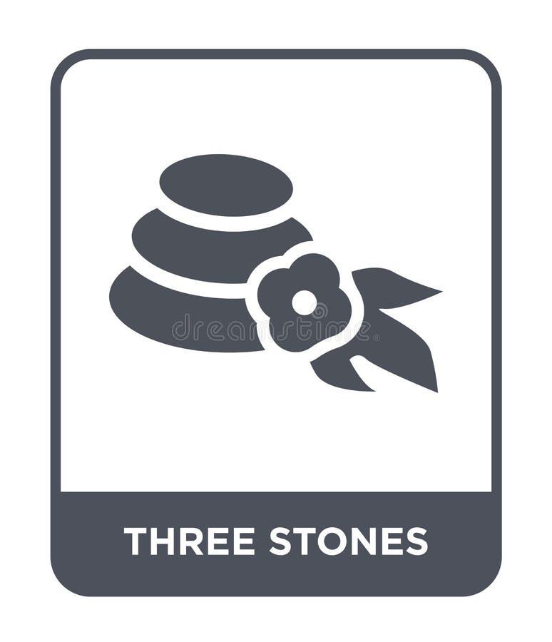 symbol för tre stenar i moderiktig designstil symbol för tre stenar som isoleras på vit bakgrund enkel vektorsymbol för tre stena vektor illustrationer