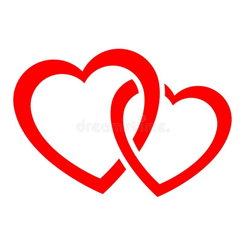 Symbol för två flätad samman hjärtor stock illustrationer