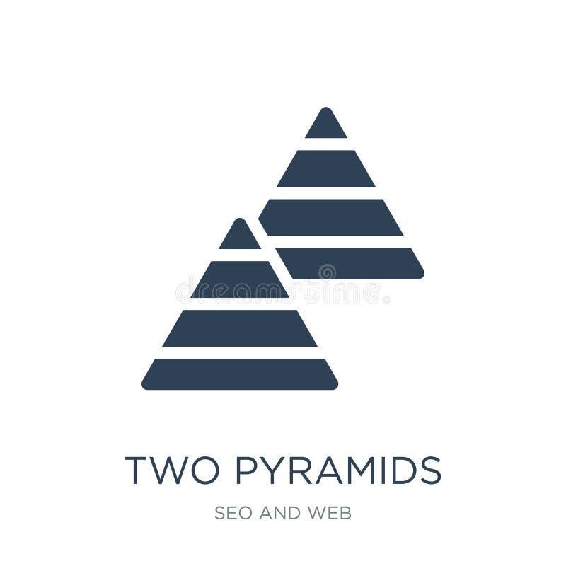 symbol för två pyramider i moderiktig designstil symbol för två pyramider som isoleras på vit bakgrund enkel vektorsymbol för två royaltyfri illustrationer