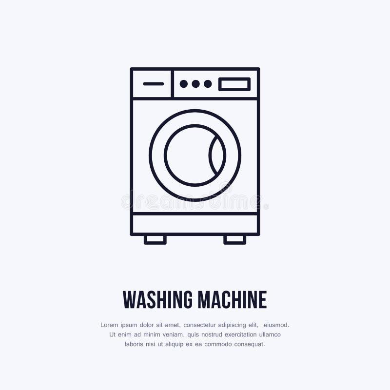 Symbol för tvagningmaskin, packningslinje logo Plant tecken för tvättinrättningservice Logotyp för självbetjäningtvätteri som bek vektor illustrationer