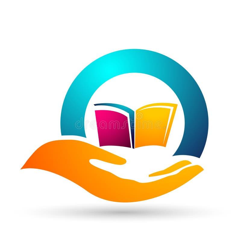 Symbol för ungar för skolböcker för barn för logo för händer för omsorg för jordklotvärldsutbildning stock illustrationer