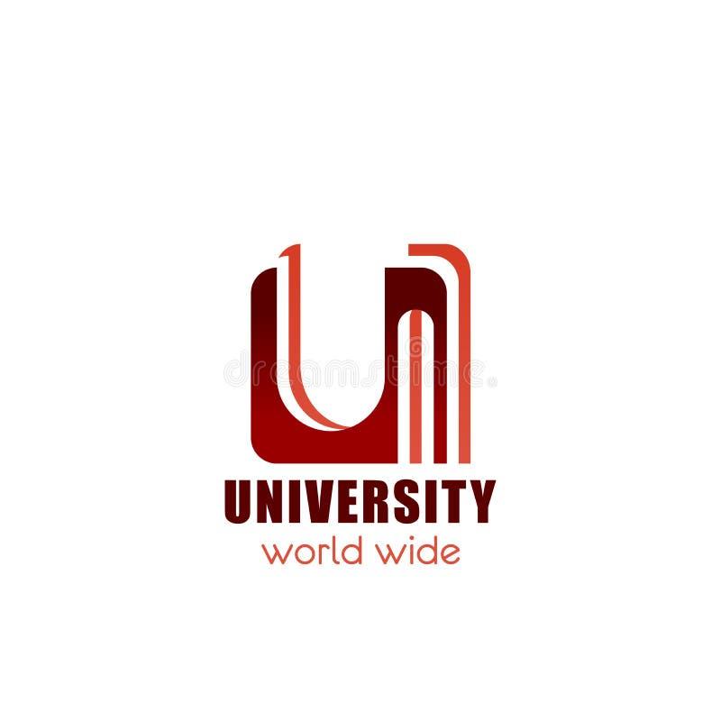 Symbol för universitet- eller högskolavektorbokstav U royaltyfri illustrationer