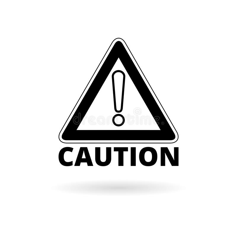 Symbol för uppmärksamhetvarningstecken, enkel vektorsymbol stock illustrationer