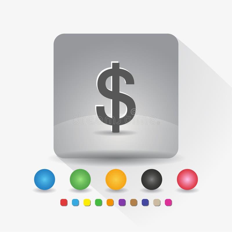 Symbol för US dollarvalutasymbol Teckensymbolapp i runt h?rn f?r gr? fyrkantig form med den l?ng skuggavektorillustrationen och f royaltyfri illustrationer