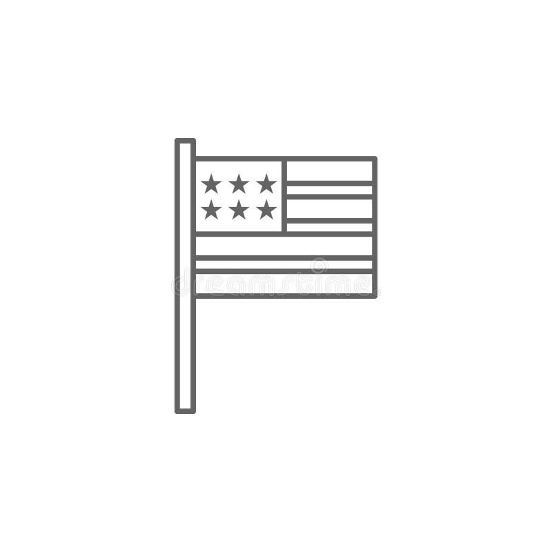 Symbol för USA flaggaöversikt Tecknet och symboler kan anv?ndas f?r reng?ringsduken, logoen, den mobila appen, UI, UX royaltyfri illustrationer