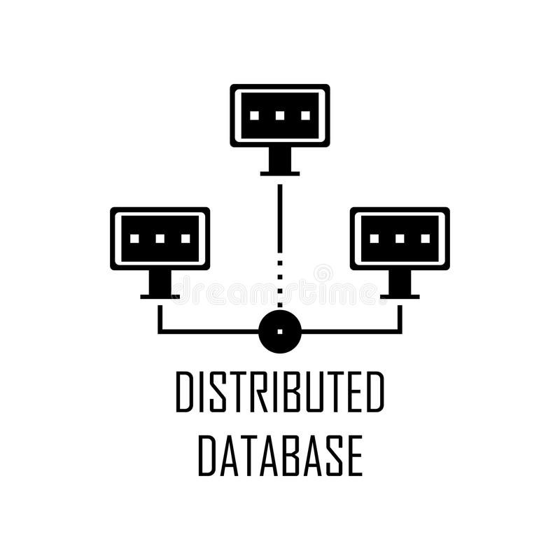Symbol för utdelad databas Beståndsdel av rengöringsdukutveckling för mobila begrepps- och rengöringsdukapps Den detaljerade symb vektor illustrationer