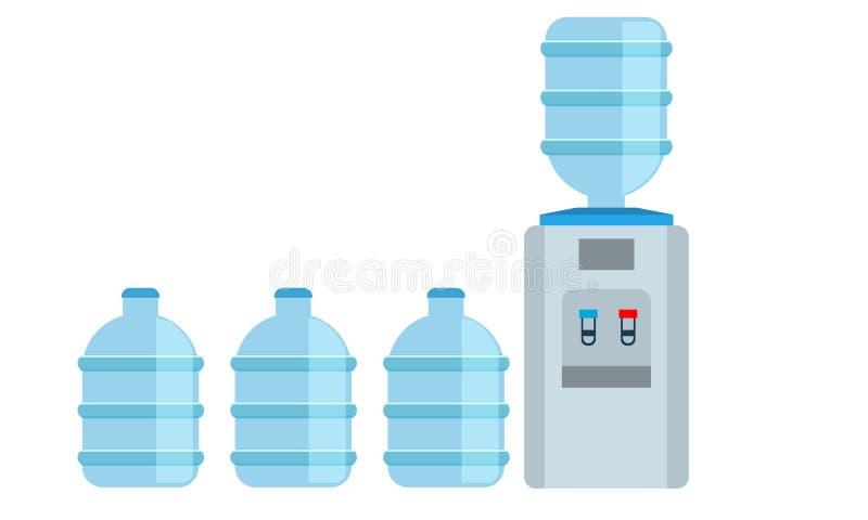 Symbol för utmatare för kontorsvattenkylare med stora vattenflaskor också vektor för coreldrawillustration royaltyfri illustrationer