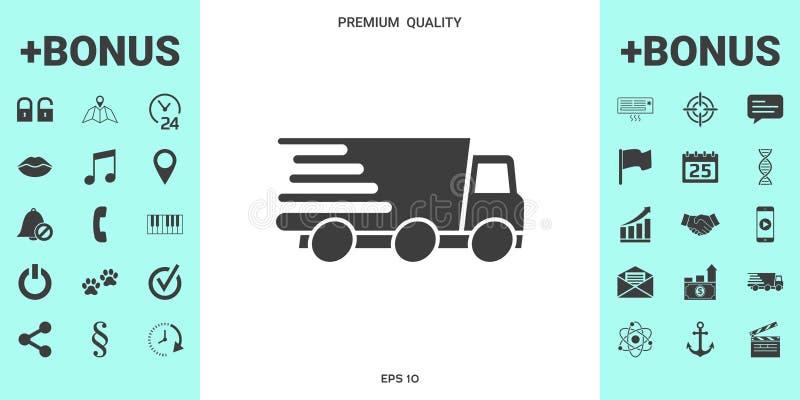 Symbol för uttrycklig leverans Leveransbil vektor illustrationer
