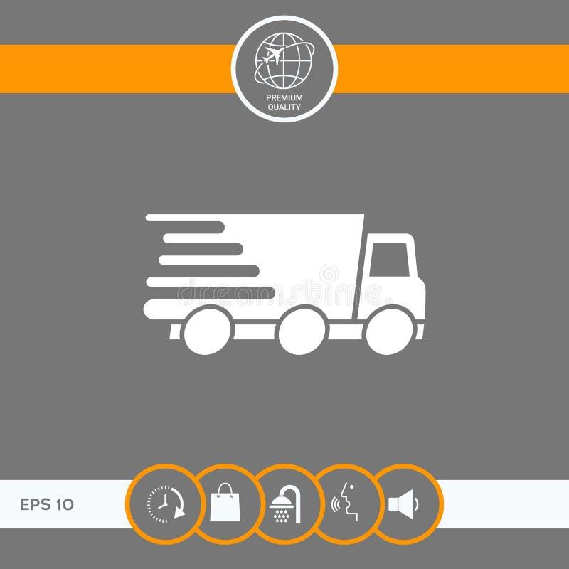 Symbol för uttrycklig leverans Leveransbil stock illustrationer