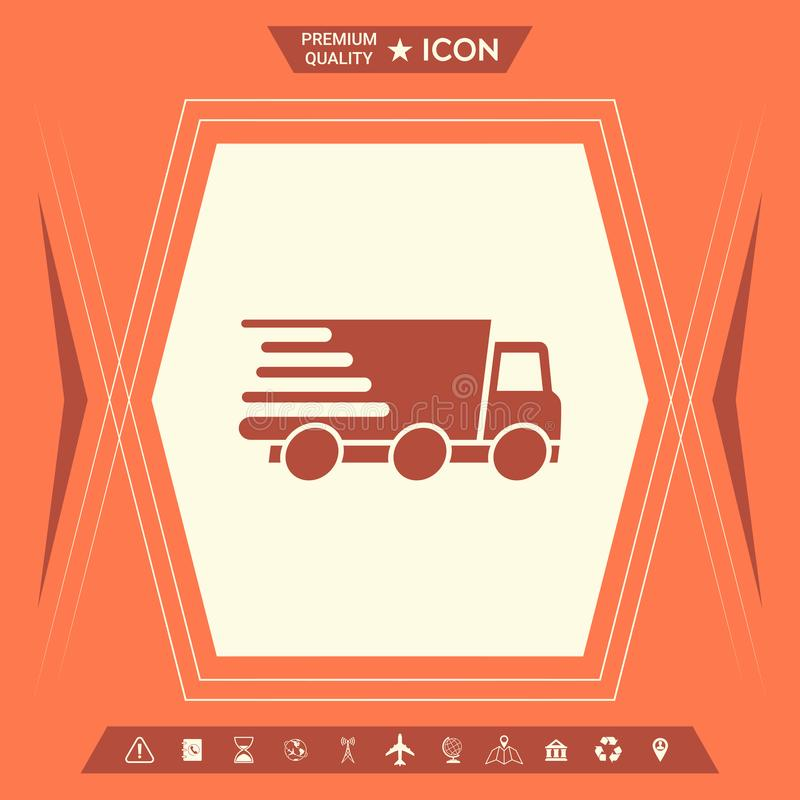 Symbol för uttrycklig leverans Leveransbil royaltyfri illustrationer