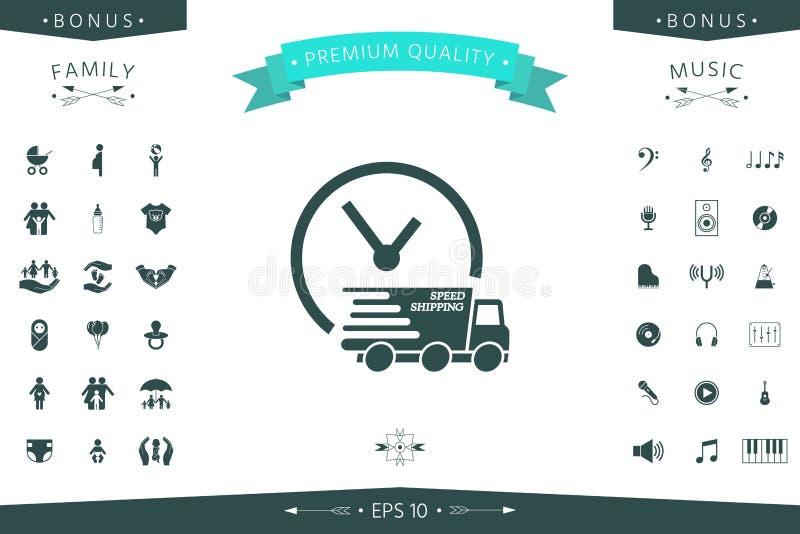 Symbol för uttrycklig leverans Leveransbil med klockan royaltyfri illustrationer