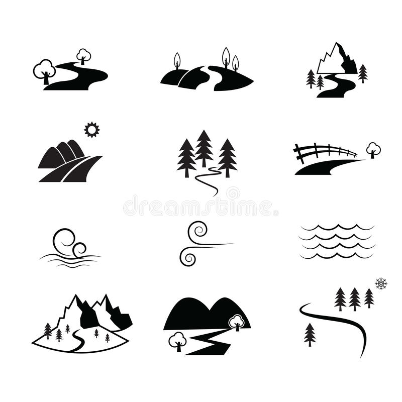 Symbol för vägbygdsikt stock illustrationer