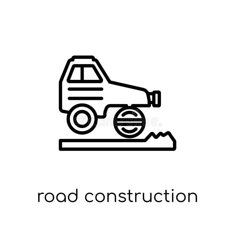 symbol för vägkonstruktion Moderiktig modern plan linjär vektorväg Co royaltyfri illustrationer