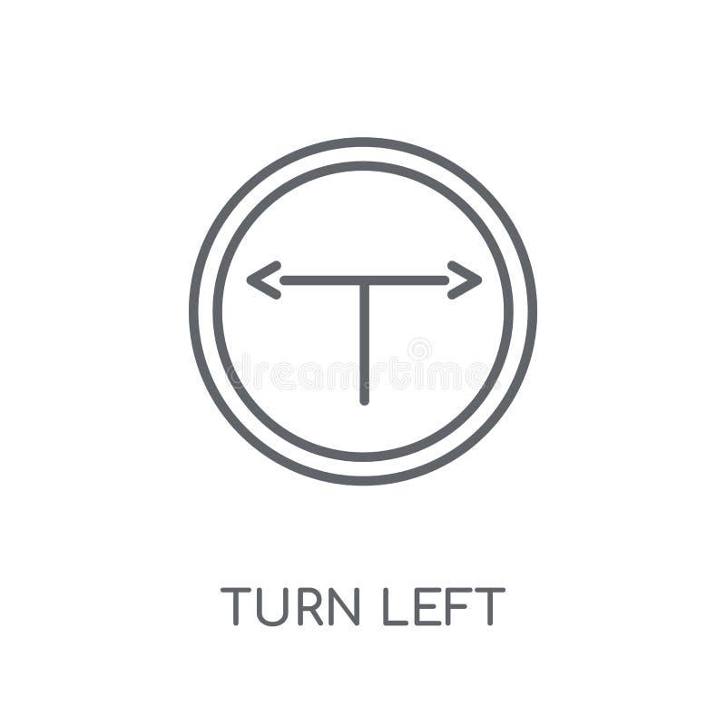 Symbol för vänstert tecken för vänd linjär Den moderna översiktsvänden lämnade teckenlogo c stock illustrationer