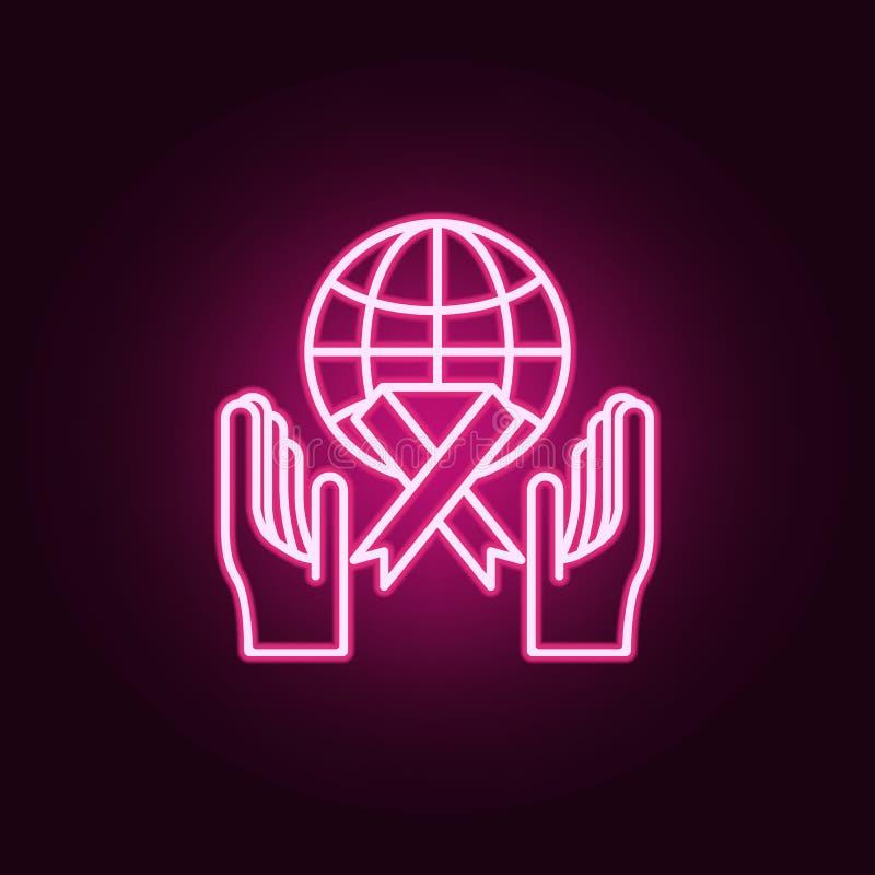 Symbol för världscancerdag Beståndsdelar av cancerdagen i neonstilsymboler Enkel symbol för websites, rengöringsdukdesign, mobil  stock illustrationer