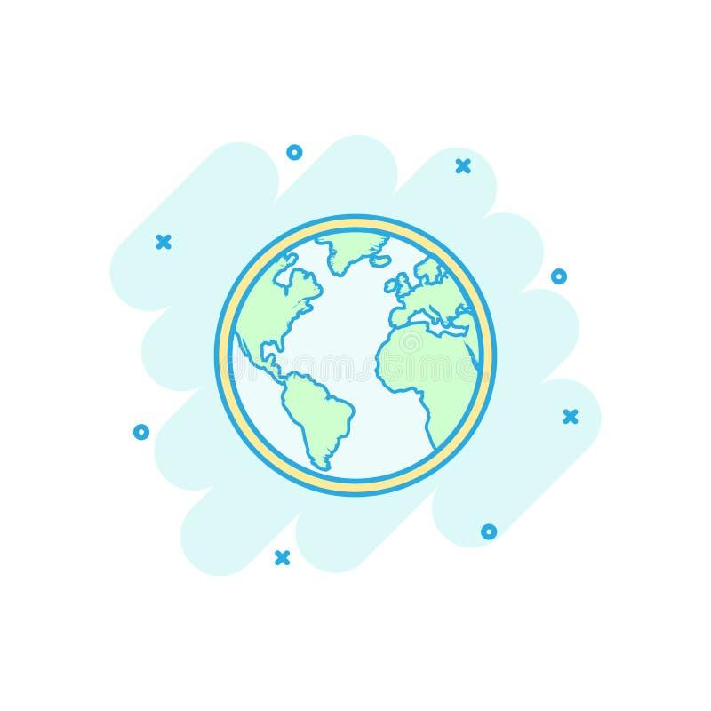 Symbol för världskarta för vektortecknad filmjordklot i komisk stil Rund jord stock illustrationer