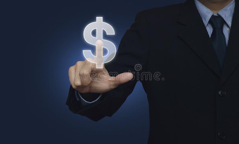 Symbol för valuta för dollar för affärsmanhand driftig över blå backgrou fotografering för bildbyråer