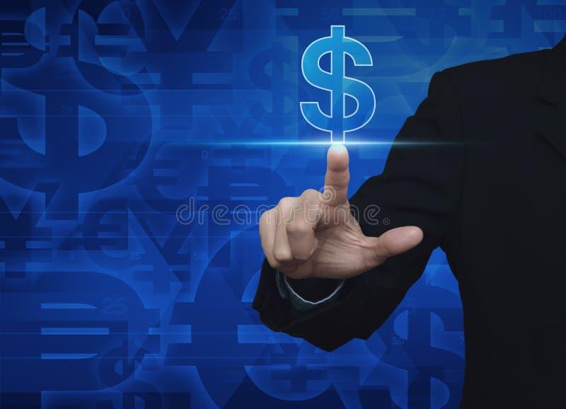 Symbol för valuta för dollar för affärsmanhand driftig på blå valuta b fotografering för bildbyråer