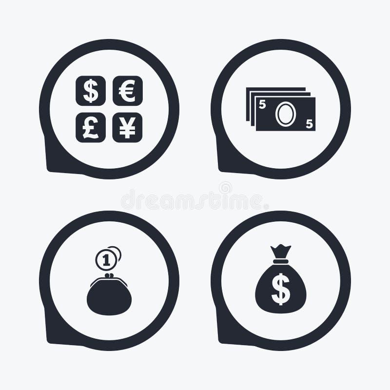 Symbol för valutautbyte Kontant pengarpåse, plånbok royaltyfri illustrationer