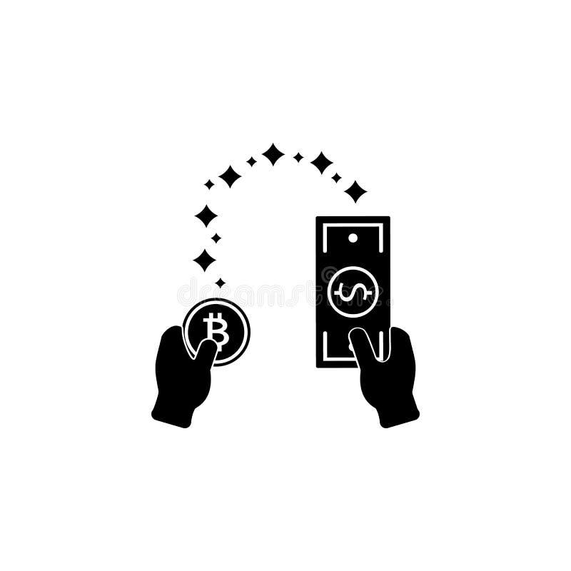 Symbol för valutautbyte med pilen, från bitcoin till dollaren och från dollarmynt till bitcoin, pengaröverföring Finansiell symbo royaltyfri illustrationer