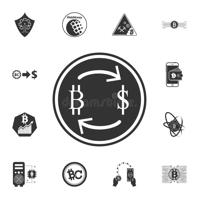 Symbol för valutautbyte med pilen, från bitcoin till dollarsymbolen Crypto valutauppsättningsymboler vektor illustrationer