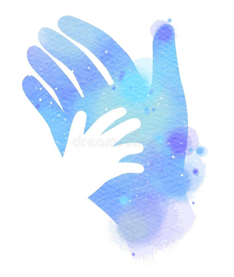 Symbol för vattenfärgportionhand Digital konstmålning royaltyfri illustrationer