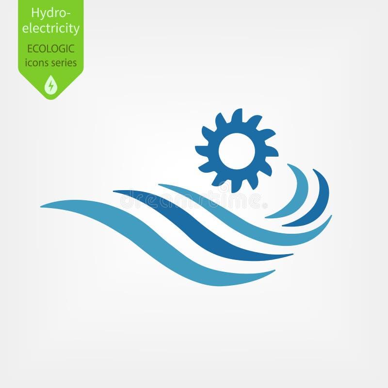 Symbol för vattenkraftstationer Illustration för vektor för Hydroelectricityutvecklingsbegrepp stock illustrationer