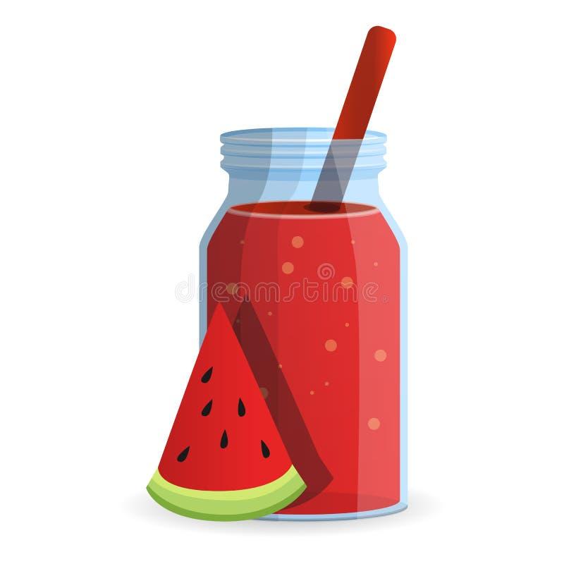 Symbol för vattenmelonsmoothieflaska, tecknad filmstil vektor illustrationer