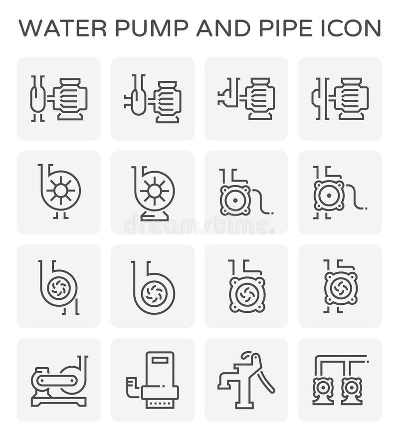 Symbol för vattenpump stock illustrationer