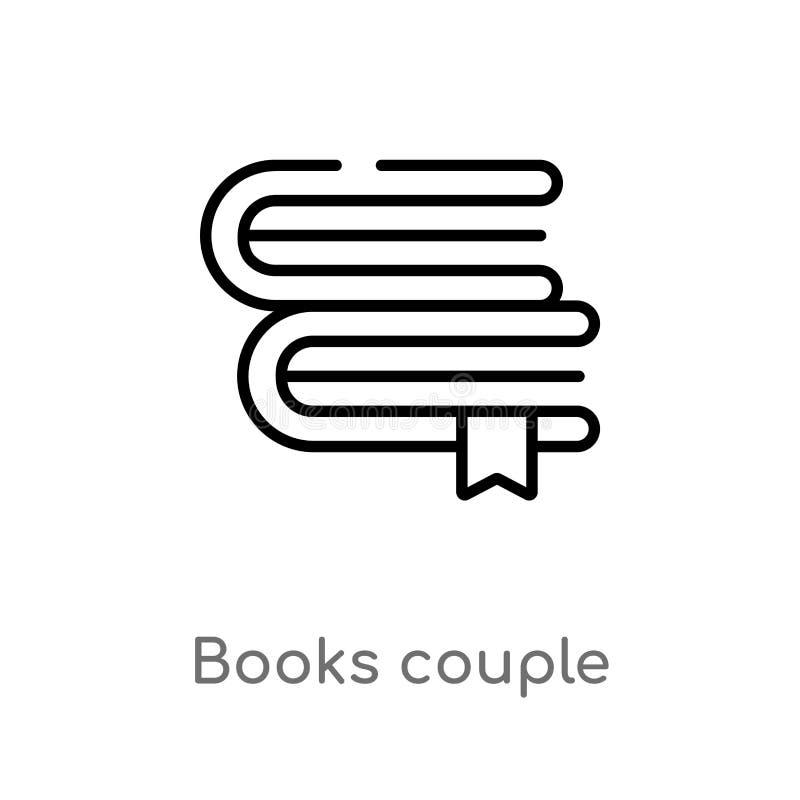 symbol för vektor för översiktsbokpar isolerad svart enkel linje beståndsdelillustration från utbildningsbegrepp Redigerbar vekto royaltyfri illustrationer